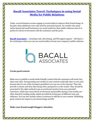 Bacall Associates Travel: Techniques in using Social Media for Public Relations
