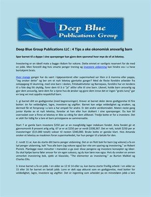 Deep Blue Group Publications LLC : 4 Tips a oke okonomisk ansvarlig barn