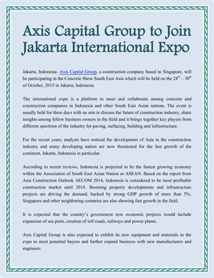 Axis Capital Group to Join Jakarta International Expo