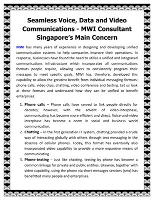 Seamless Voice, Data and Video Communications - MWI Consultant Singapore's Main Concern