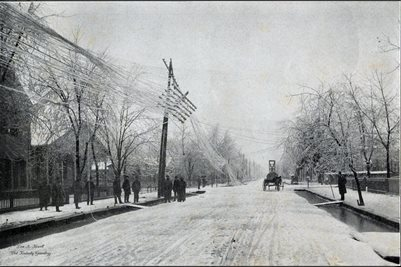 1902 ICE STORM, THE FIRST WRECK OF THE STORM, NINTH AND JEFFERSON