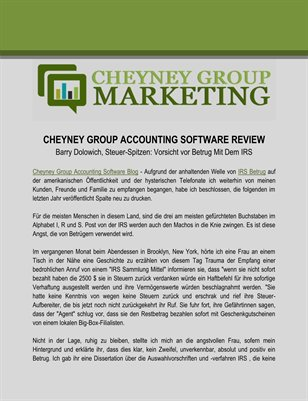Cheyney Group Accounting Software Review: Vorsicht vor Betrug Mit Dem IRS