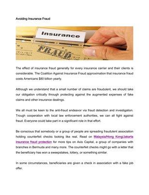 Avoiding Insurance Fraud