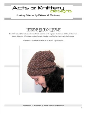 Terrene Slouch Beanie Hat Knitting Pattern