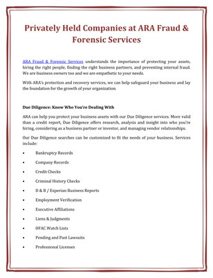 Privately Held Companies at ARA Fraud & Forensic Services