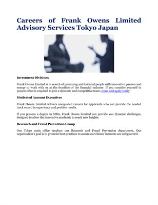 Careers of Frank Owens Limited Advisory Services Tokyo Japan