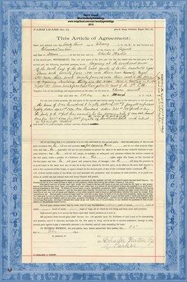 1892, Farm Lease, Clarinda Dunham & Charles Martin, Tazewell County, IL.