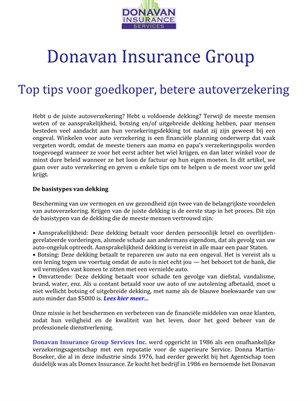 Donavan Insurance Group: Top tips voor goedkoper, betere autoverzekering