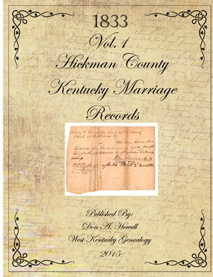 1833 Hickman County, Kentucky Marriage Records