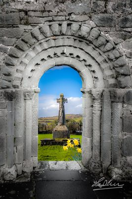 "Ireland Poster, ""Medieval Arch and High Cross, County Clare,"" Irish Poster Print"