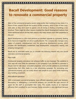Bacall Development: Good reasons to renovate a commercial property