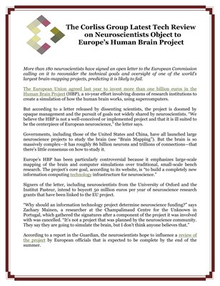 The Corliss Group Latest Tech Review on Neuroscientists Object to Europe's Human Brain Project