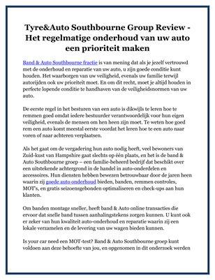 Tyre&Auto Southbourne Group Review - Het regelmatige onderhoud van uw auto een prioriteit maken