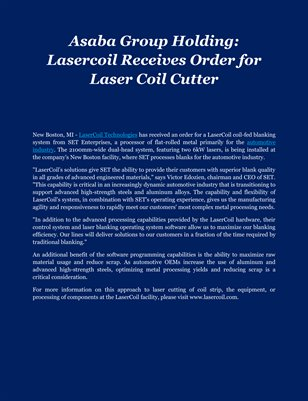 Asaba Group Holding: Lasercoil Receives Order for Laser Coil Cutter