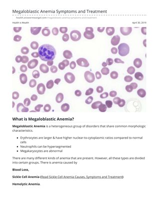 Megaloblastic Anemia Symptoms and Treatment
