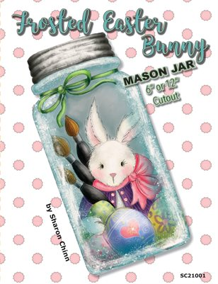 Frosted Easter Bunny Mason Jar Painting Pattern by Sharon Chinn - SC21001