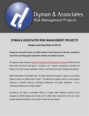 Dyman & Associates Risk Management Projects: Google Lease Navy Base for 60 Yrs