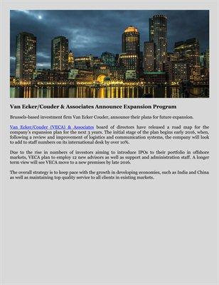 Van Ecker/Couder & Associates Announce Expansion Program