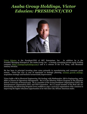 Asaba Group Holdings, Victor Edozien: PRESIDENT/CEO