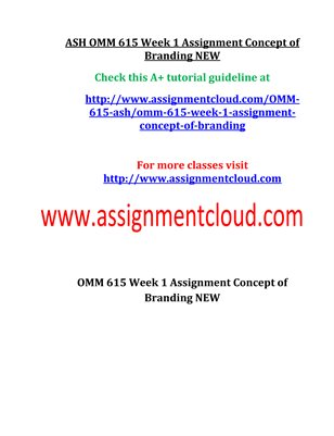 OMM 615 Entire Course NEW