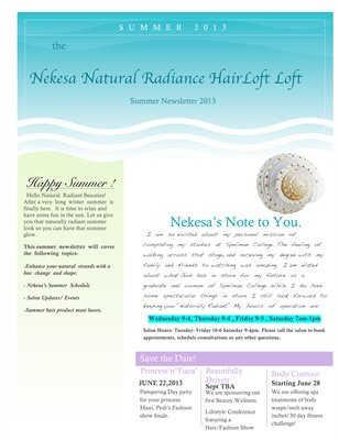 Nekesa Natural Radiance Summer Newsletter
