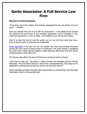 Gantz Associates: A Full Service Law Firm