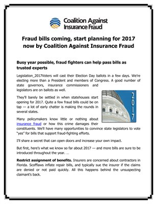 Fraud bills coming, start planning for 2017 now by Coalition Against Insurance Fraud