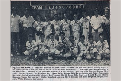 JULY 22,1956 PADUCAH'S SOUTHERN LEAGUE ALL-STARS FIRST DISTRICT LITTLE LEAGUE BASEBALL