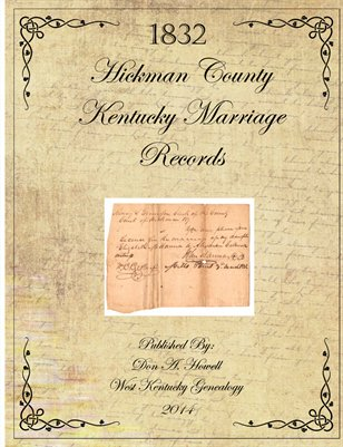 1832 Hickman County, Kentucky Marriage Records