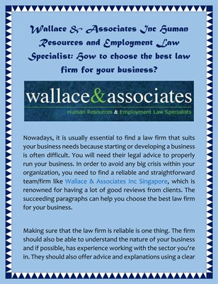 Wallace & Associates Inc Human Resources and Employment Law Specialist: How to choose the best law firm for your business?