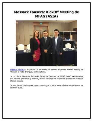 Mossack Fonseca: KickOff Meeting de MFAG (ASIA)