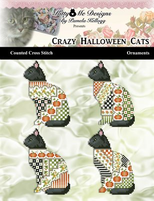 Crazy Halloween Cats Ornaments Counted Cross Stitch Pattern