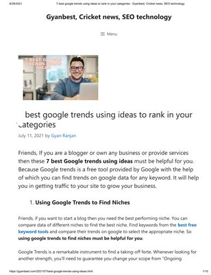 Google trends using ideas for keyword research