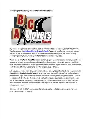 Antonio Texas Area Movers
