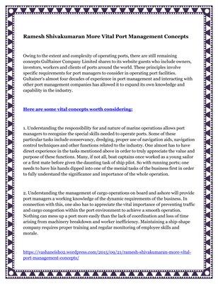 Ramesh Shivakumaran More Vital Port Management Concepts