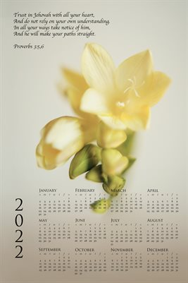 2022 Calendar - Proverbs 3:5,6 - Freesia