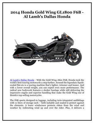 2014 Honda Gold Wing GL1800 F6B - Al Lamb's Dallas Honda