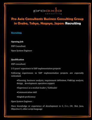 Pro Axia Consultants Business Consulting Group in Osaka, Tokyo, Nagoya, Japan: Recruiting