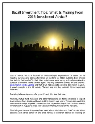 Bacall Investment Tips: What Is Missing From 2016 Investment Advice?