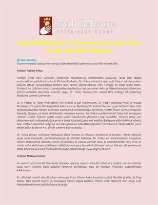 South Bellmore Veterenary Group New York: Meidän lääkärit