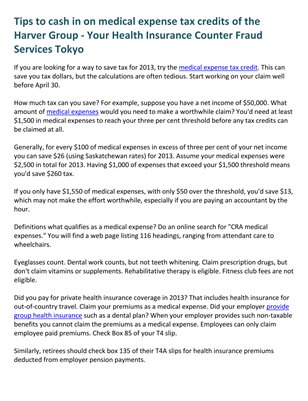 Tips to cash in on medical expense tax credits of the Harver Group - Your Health Insurance Counter Fraud Services Tokyo