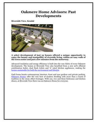 Oakmere Home Advisors: Past Developments