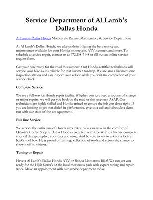 Service Department of Al Lamb's Dallas Honda