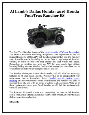 Al Lamb's Dallas Honda: 2016 Honda FourTrax Rancher ES