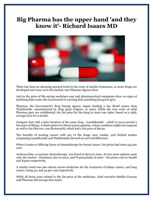 Big Pharma has the upper hand 'and they know it'- Richard Isaacs MD