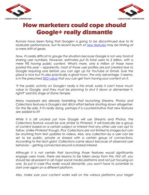 How marketers could cope should Google+ really dismantle