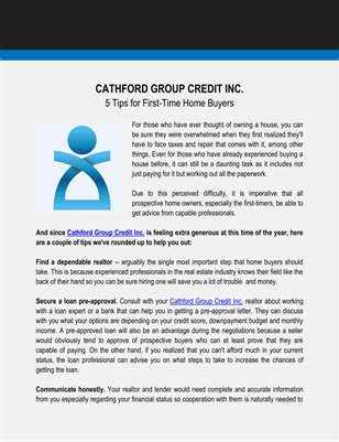Cathford Group Credit Inc.: 5 Tips for First-Time Home Buyers