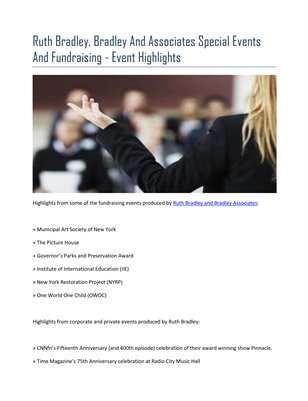 Ruth Bradley, Bradley And Associates Special Events And Fundraising - Event Highlights
