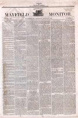 (PAGES 1-2) AUGUST 27, 1881 MAYFIELD MONITOR NEWSPAPER, MAYFIELD, GRAVES COUNTY, KENTUCKY