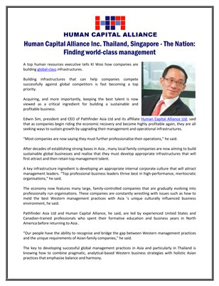 Human Capital Alliance Inc. Thailand, Singapore - The Nation: Finding world-class management